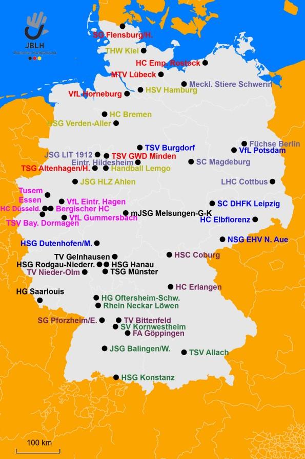 Landkarte der Bundesliga A-Jugend 2021-2022